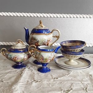 VTG Limoges blue gold mini tea set